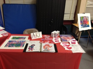 The art table, complete with prints, valentines and Reggie's original drawings!